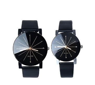 Valentines gift ideas for him and her - Couple Quartz Dial Clock Leather Wrist Watch Black