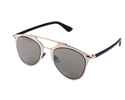 Gift ideas for him and her - DUOYA bluerdream-Classic Women Metal Frame Mirror Sunglasses Cat Eye Glasses- Gold