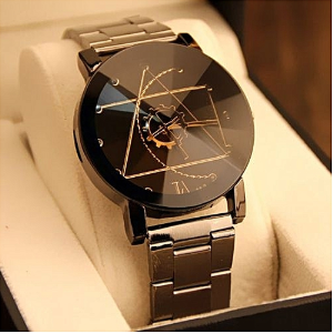 Gift Ideas for Him- Fashion Watch Stainless Steel Man Quartz Analog Wrist Watch BK