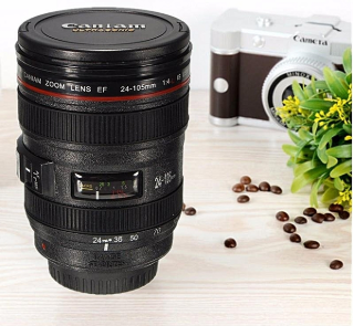 Gift ideas for him and her - Black Lens Thermos Camera Lens, Travel Coffee Tea Mug Cup Gift