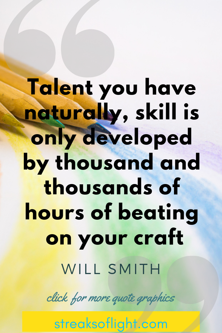 The separation of talent and skill... talent you only have naturally, skill is developed - Will Smith Quotes on Self Discipline.