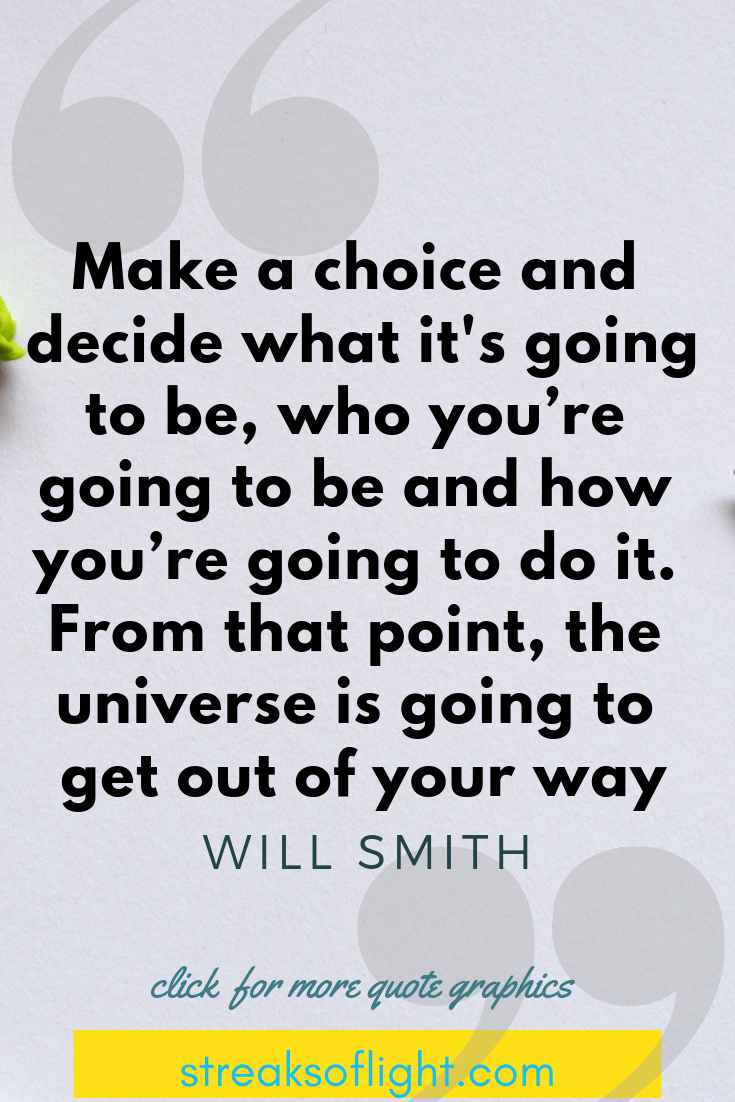 make a choice and decide what it's going to be, who you are going to be and how you are going to do it... Will Smith Quotes on Self Discipline