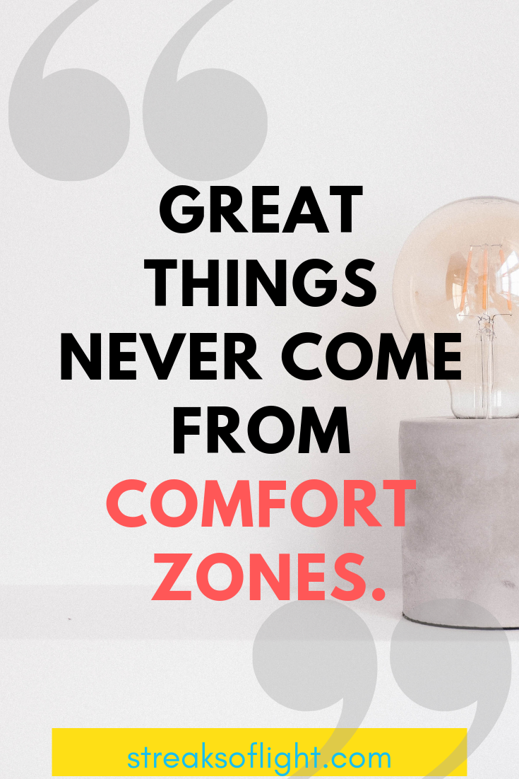 Great things never come from comfort zones... Quotes on self improvement. - Streaks of light
