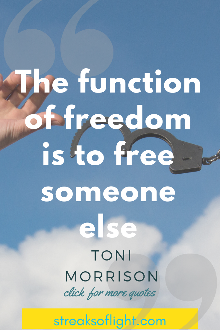 inspirational quotes by Toni Morrison on success and freedom. #tonimorrisonquotes #tonimorrisondeath #tonimorrisonlife #freedomquotes #successquotes